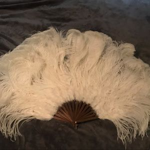Ostrich Feather Burlesque Fan - Large White EUC